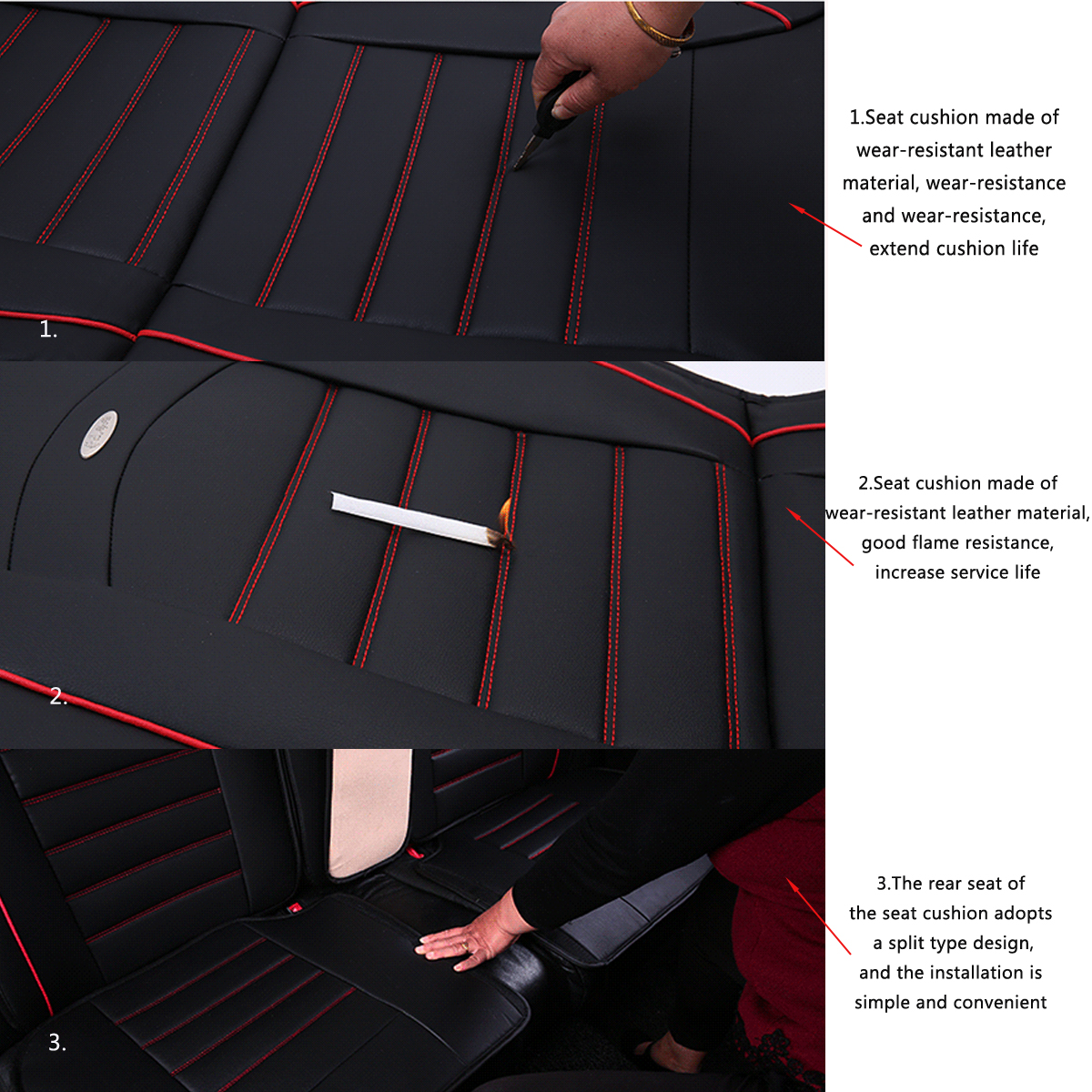 Leather Car Full Surround Seat Cover Cushion Protector Set Universal for Five Seats Car
