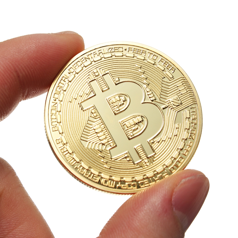 1Pcs Gold Bitcoin Model Commemorative Coins BTC Metal Coin Decorations