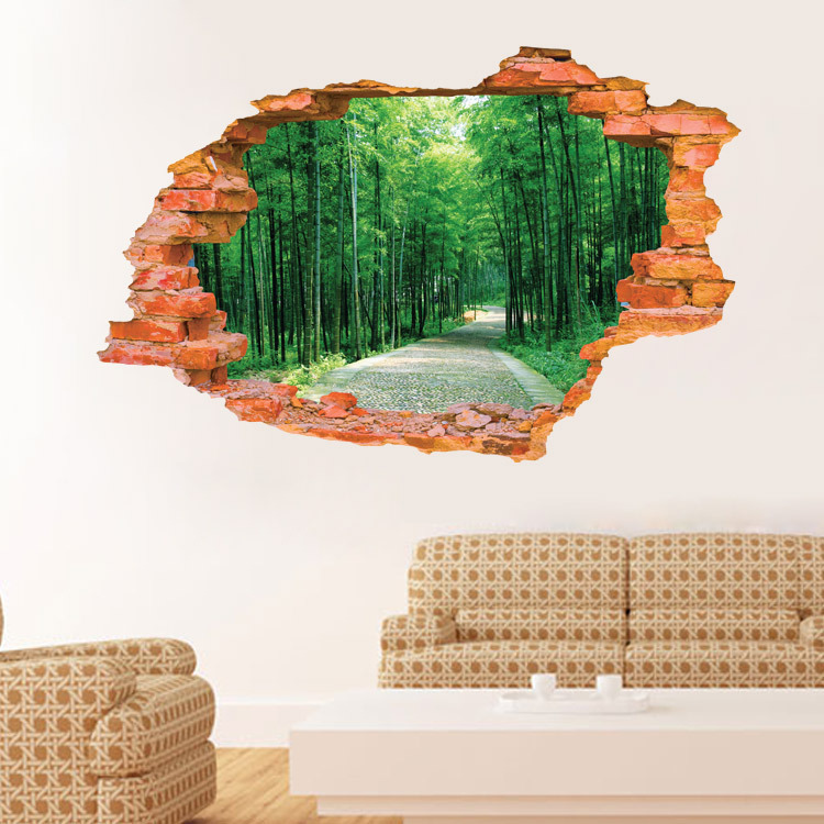 Miico Creative 3D Tree Avenue Broken Wall Removable Home Room Decorative Wall Door Decor Sticker