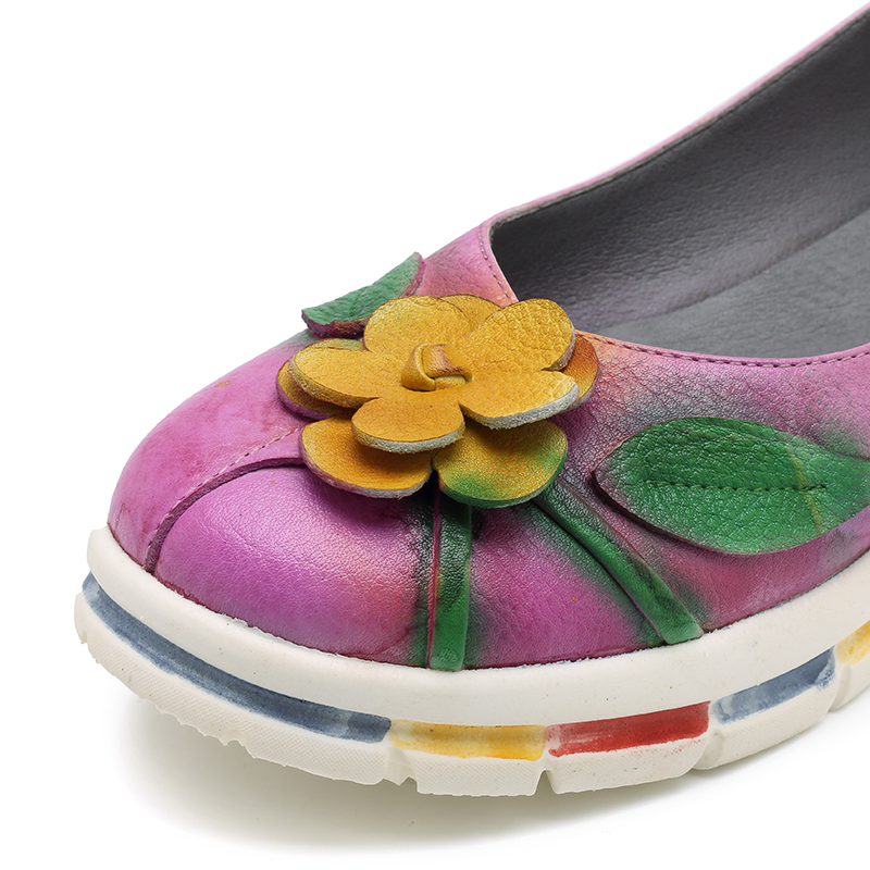 SOCOFY Leather Handmade Flower Retro Flats Loafers