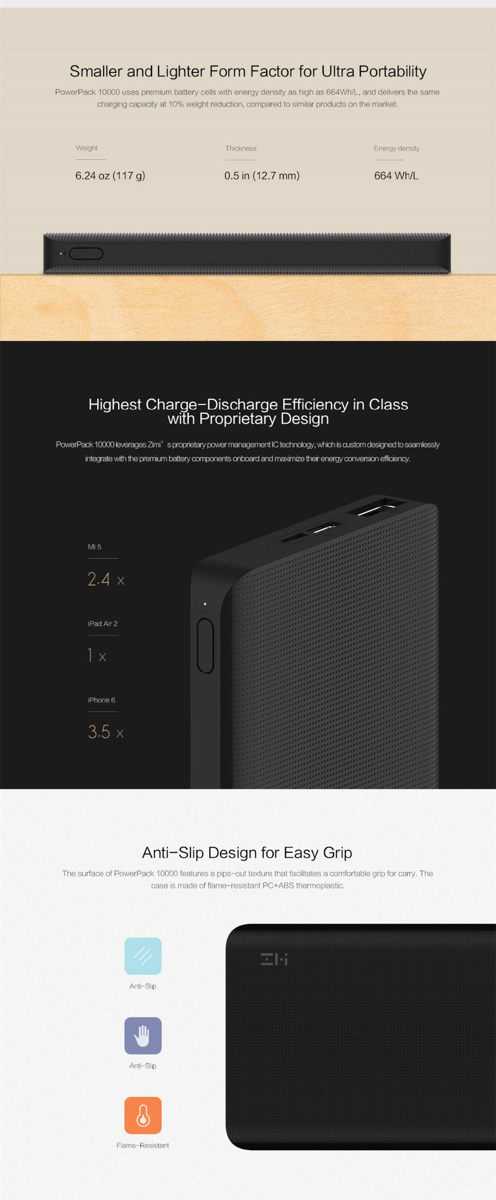 Original Xiaomi ZMI QB810 10000mAh Power Bank Two-way Quick Charge 2.0 with Type-C Micro Input