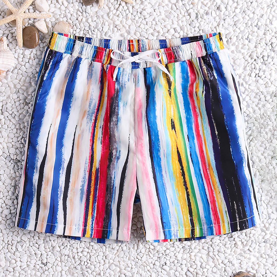Men Colorful Stripe Quick Drying Beach Hawaiian Board Shorts