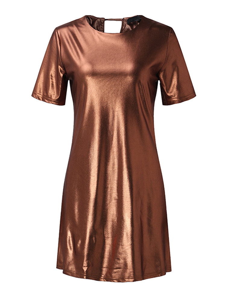 Stylish Women Short Sleeve Crew Neck Metallic T-shirt Dresses