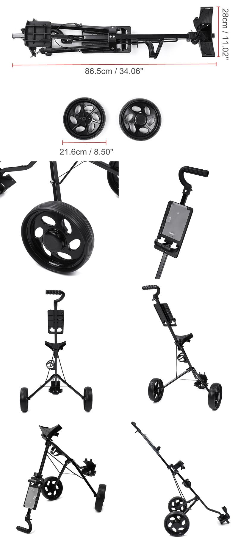 2 Wheel Golf Push Cart Outdoor Foldable Golf Trailer Aluminum Golf Carrier Golf Trolley Sport Equipment