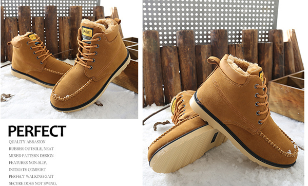 Winter Men Plush Cotton Keep Warm Lace-Up Outdoor Comfortable Nubuck Leather Snow Boots