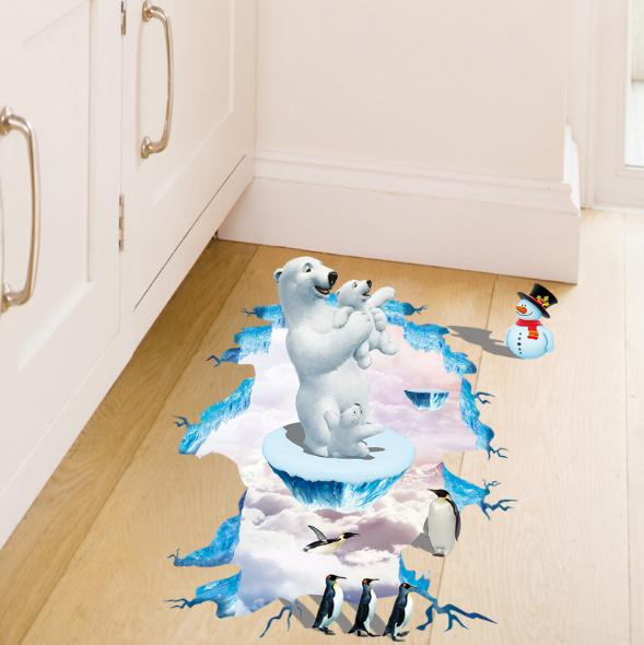 3D Polar Bear Penguin Living Room Bedroom Animals Floor Background Wall Decor Creative Stickers
