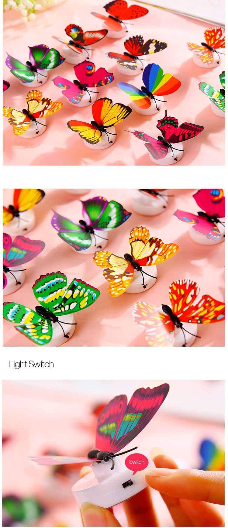 Miico Beautiful Butterfly LED Night Light Lamp With Suction Christmas Wedding Decor Sticker
