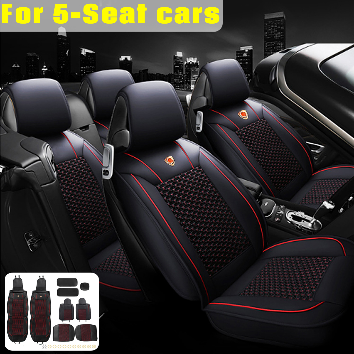 5Pcs PU Leather Car Front Rear Seat Cushion Cover Protector with headrest Universal for 5 Seats Car
