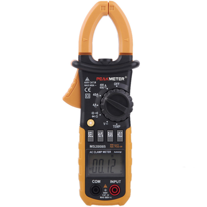 PEAKMETER MS2008B Digital 4000 Counts Auto Range Data Hold AC Clamp Meter Multimeter with Backlight and Diode Continuity Test