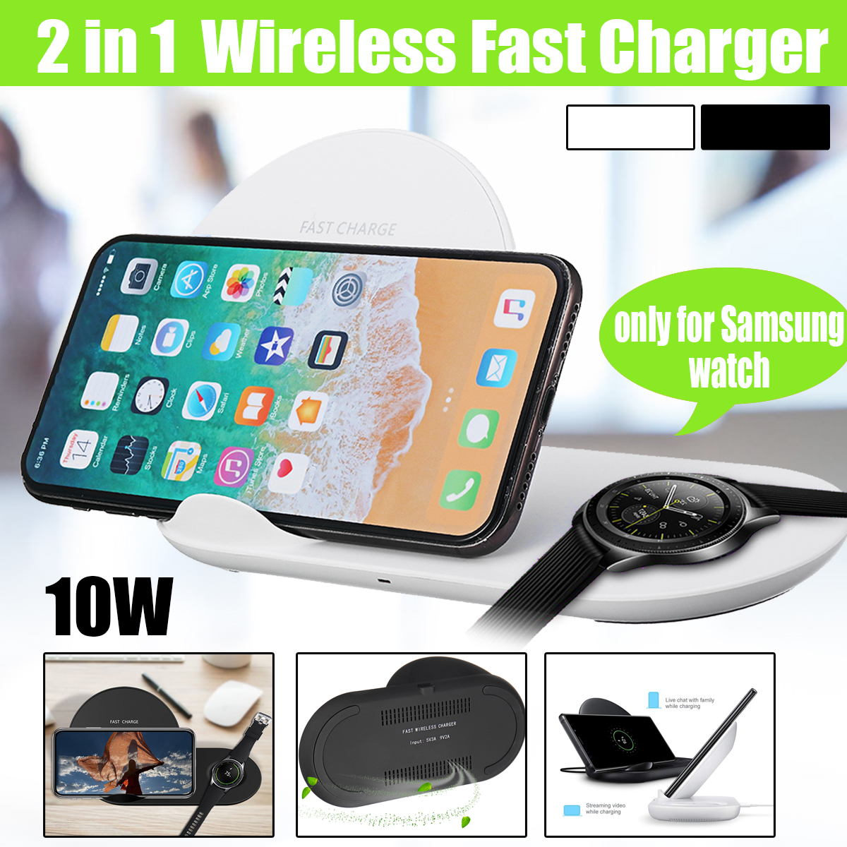 2 in 1 10W Wireless Charger Fast Charge Station Watch For Samsung Xiaomi Huawei