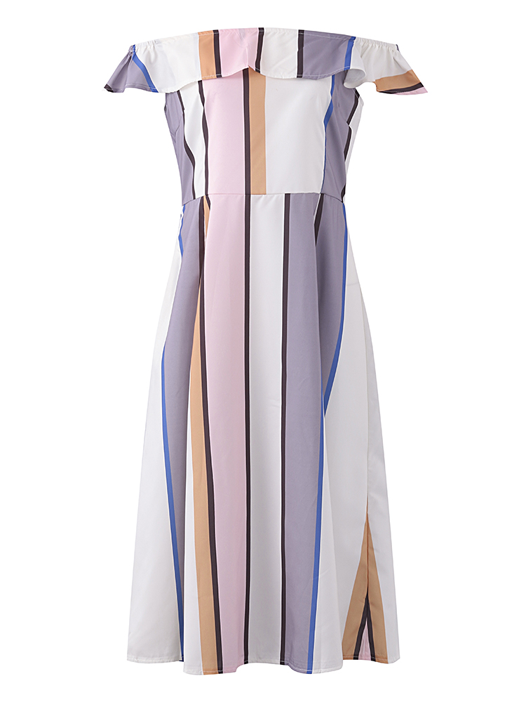 Sexy Women One Shoulder Polychrome Striped Ruffle Dress