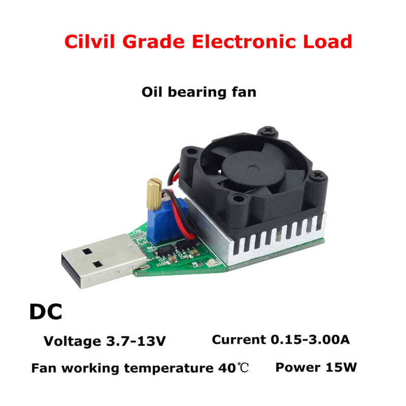 RUIDENG DC3.7-13V 15W Cilvil And Industrial Grade Electronic Load Resistor USB Interface Discharge Battery Test Capacity Fan Adjustable Current