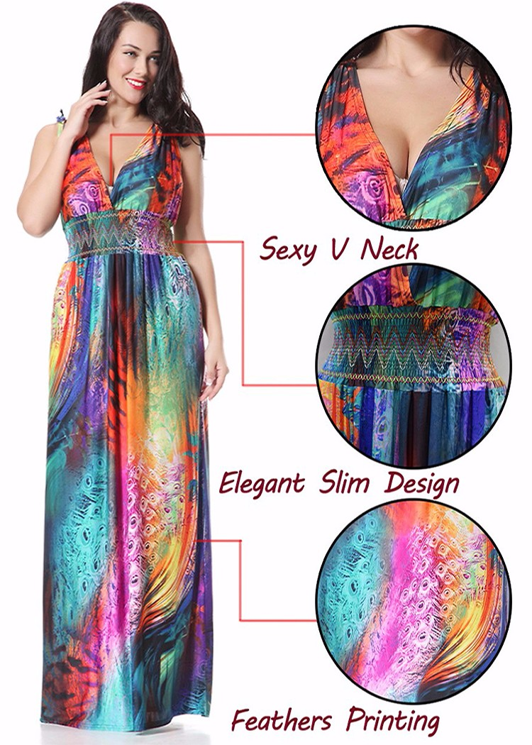 Sexy Women Deep V-Neck Sleeveless Bohemian Colorful Feather Maxi Dress