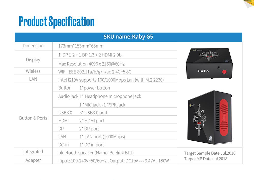 Beelink KABY G5 Intel i5-8305G 16GB DDR4 RAM 256GB SSD TV Box Mini PC Speaker Support Windows10