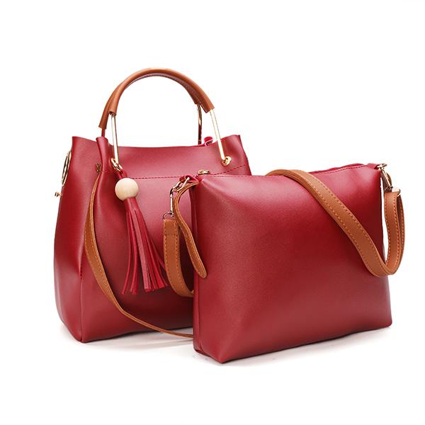 Women Pu Leather Tassels Handbag Casual Crossbody Bag