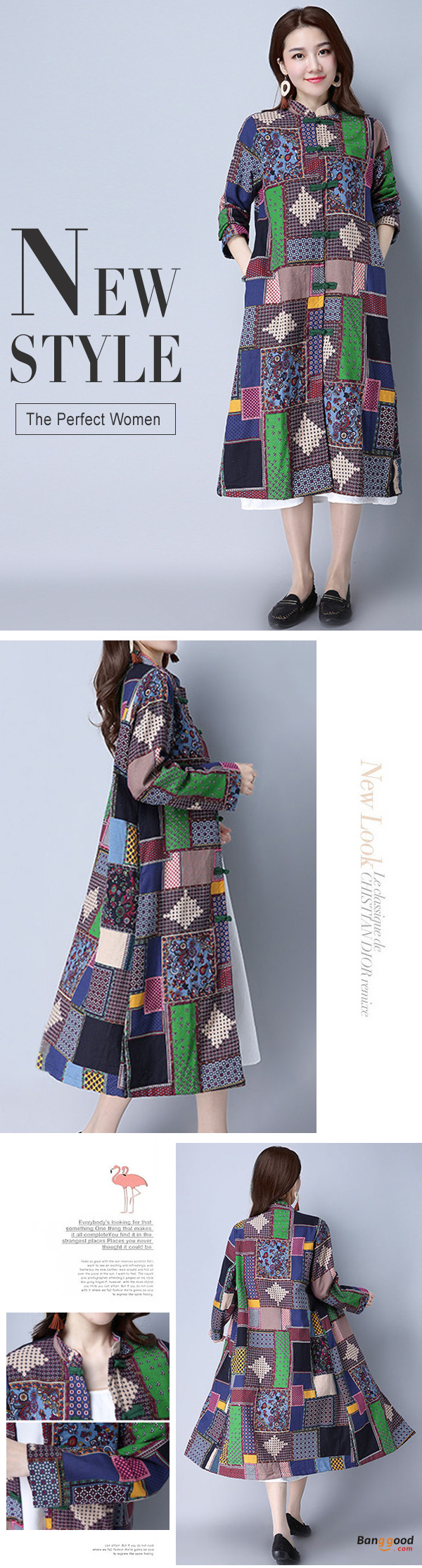Spring Autumn Women Classic trench Coat Ethnic Plaid Vintage Windbreaker