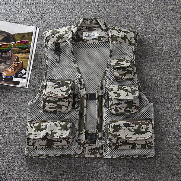 Mens Summer Outdooors Mesh Camouflage Solid Color Multi Pocket Fishing Vest Photography Waistcoat