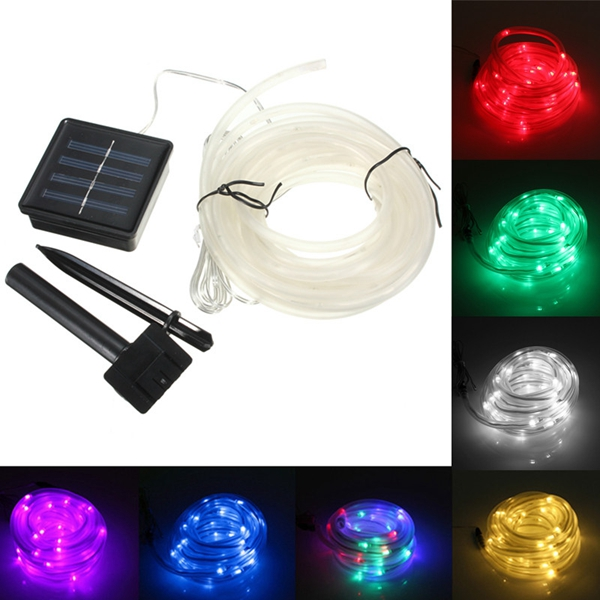 7M 50 LED Solar Waterproof LED Rope Tube String Fairy Light Xmas Party Garden Decor