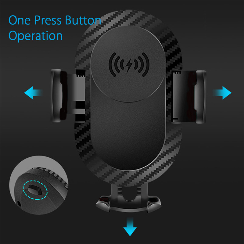 10W Fast Qi Wireless Charge Adjustable Windshield Dashboard Holder Car Mount for Mobile Phone