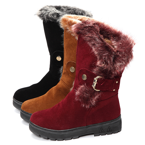 Women Winter Boots Ankle Short Boots Artificial Fur Snow Boots