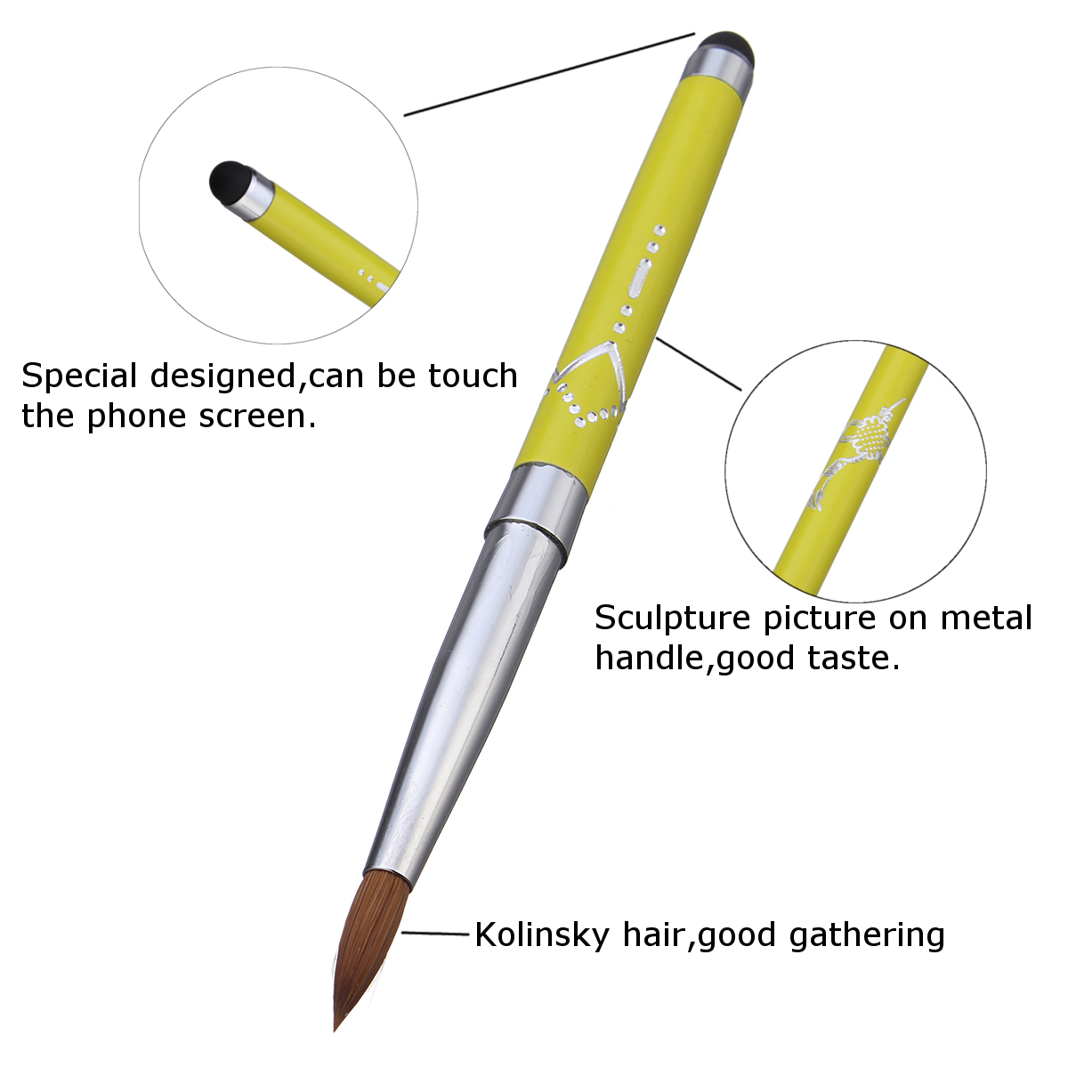 Kolinsky Sable Hair Nail Art Brush Pen Painting Drawing UV Gel Polish Manicure Tool