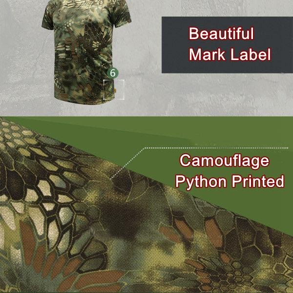 Men's Fashion Camouflage Python Printed T-shirt Casual Sport Speed Dry Round Neck Short Sleeve Tops