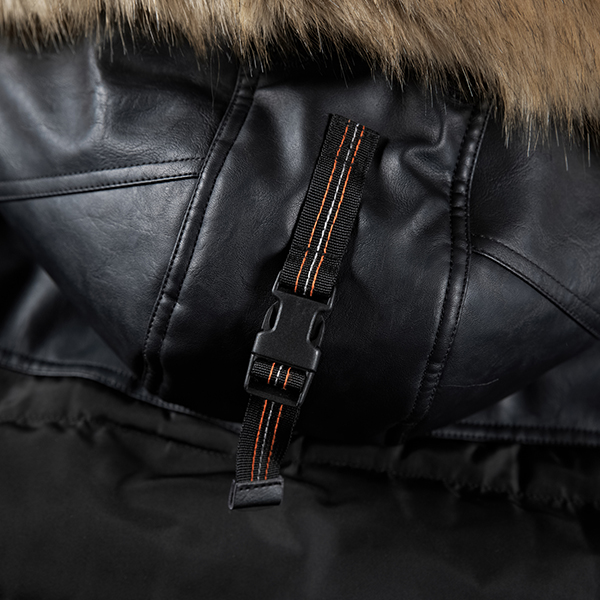 Mens Winter Thick Hooded Jacket Fur PU leather Stitching Outdoor Casual Fashion Badges Coat