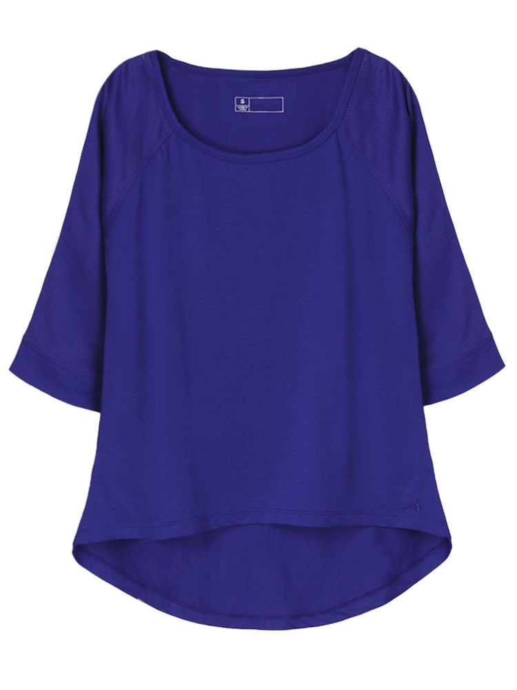 Casual Women Three Quarter Sleeve Pure Color High Low T-shirt