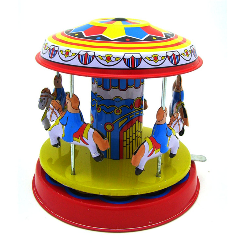 Classic Vintage Clockwork Wind Up Merry-Go-Round Children Kids Tin Toys With Key