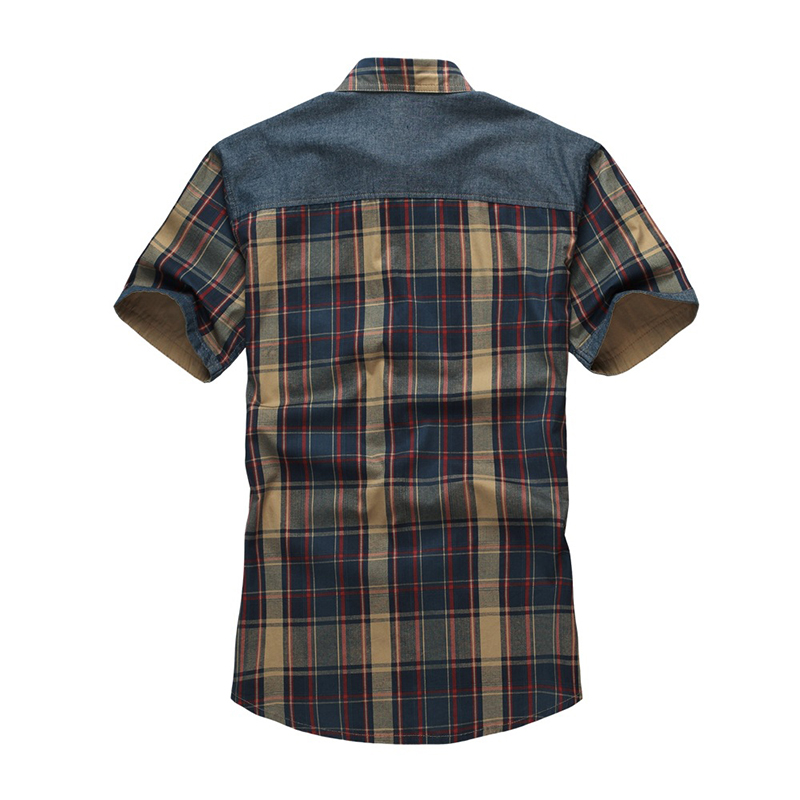 Summer Cotton Plaid Chest Pocket Short Sleeve Shirts for Me