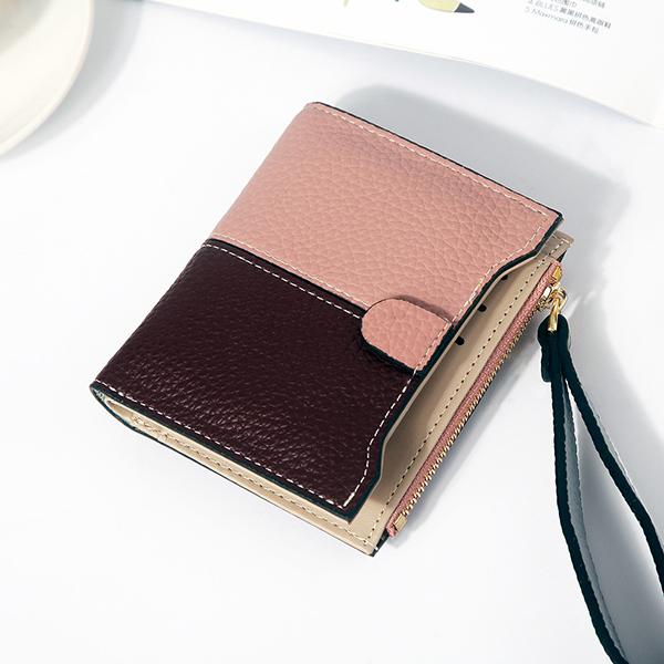 Women Faux Leather Stitching Color Patchwork Short Wallet