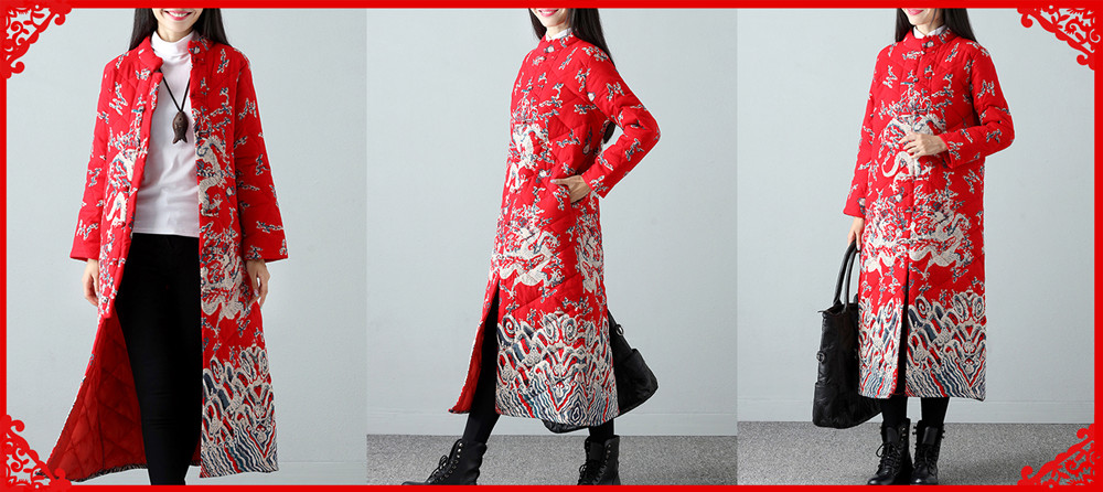 Warm Winter Robe Flower Long Coat Linen Thin Cotton Jacket for Women