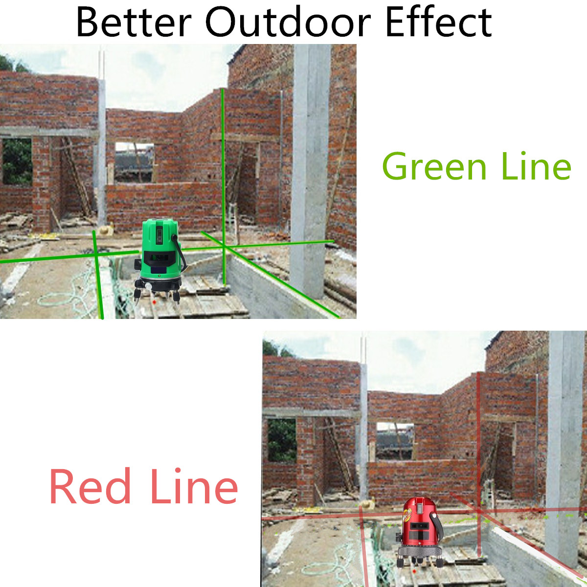 Green 3 Line 4 Points Laser Level 360 Rotary Laser Line Self Leveling with Tripod