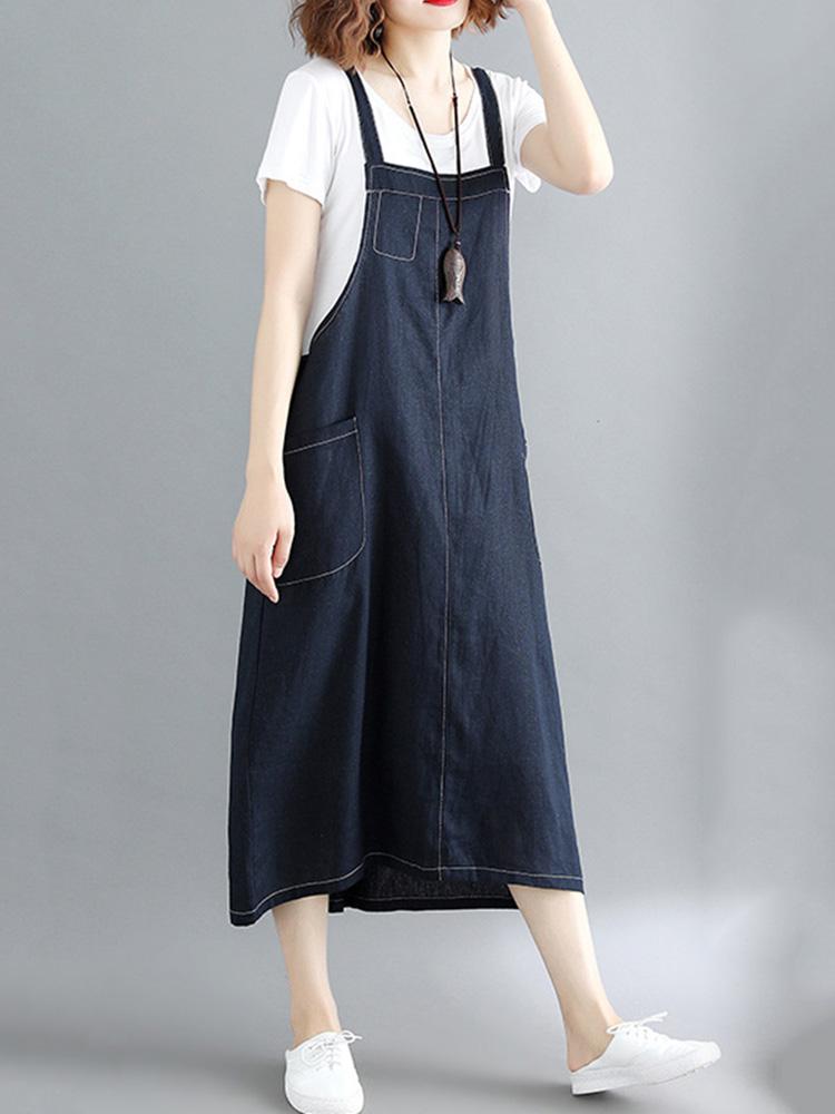 Women Casual Spaghetti Straps Loose Denim Dress with Pockets