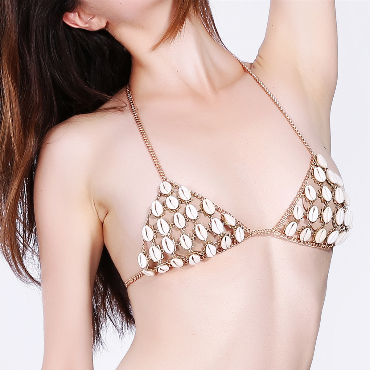 Sexy Hollow Shell Beach Breathable Free Bra Body Chain