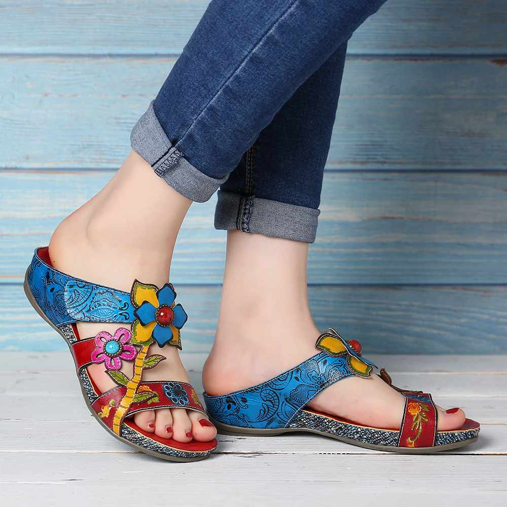 SOCOFY Genuine Leather Casual Wedge Sandals