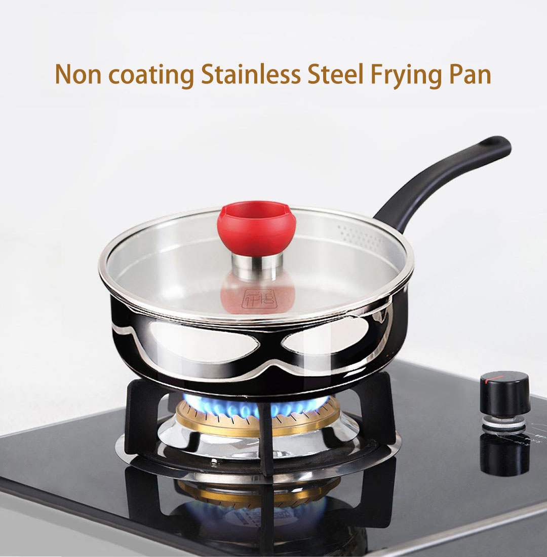 XIAOMI YIWUYISHI Non-coating Stainless Steel Frying Pan Healthy and Safe Made Silver