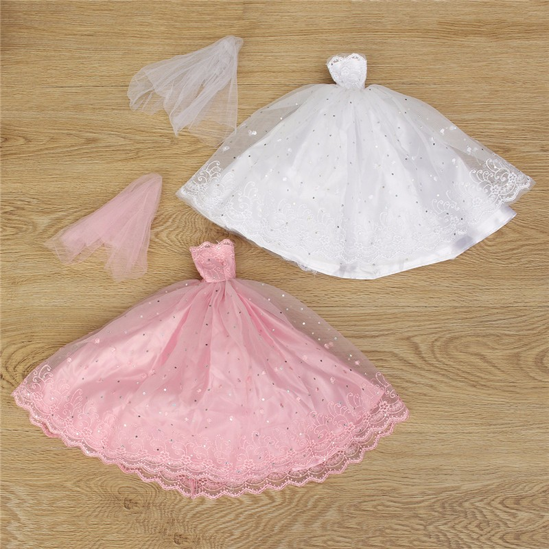 Pink White Princess Gown Wedding Dress For 30cm Dolls K