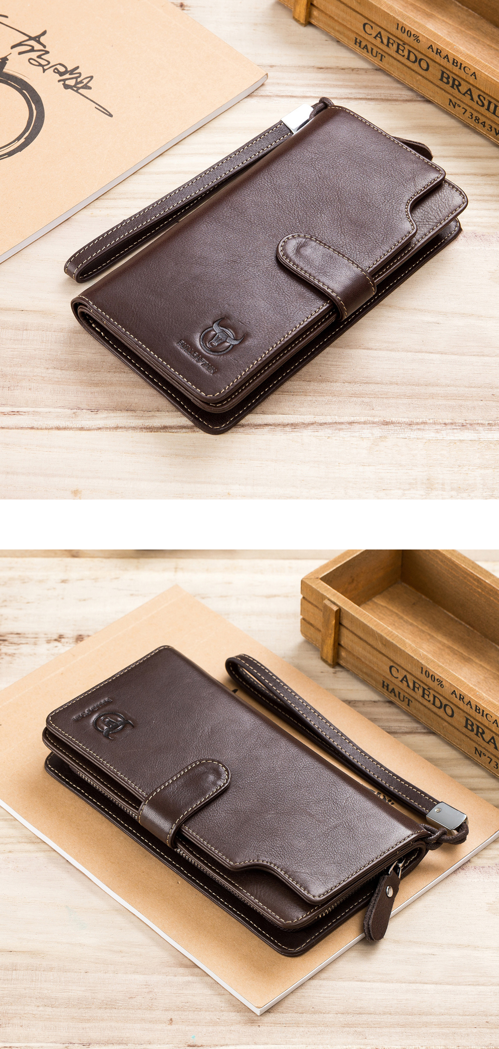 BULLCAPTAIN Men Business Retro 12 Card Slots Phone Wallet