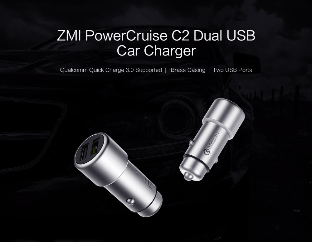 Original Xiaomi ZMI AP821 Quick Charge 3.0 5V3.6A 18W Dual USB Car Charger for Mobile Phone