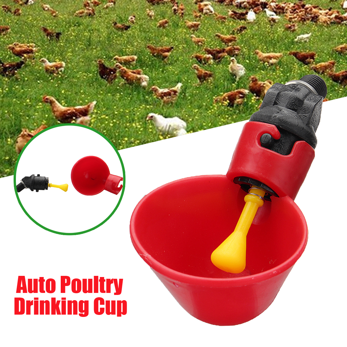 Plastic Poultry Water Drinking Cup Chicken Hen Bird Automatic Drinker