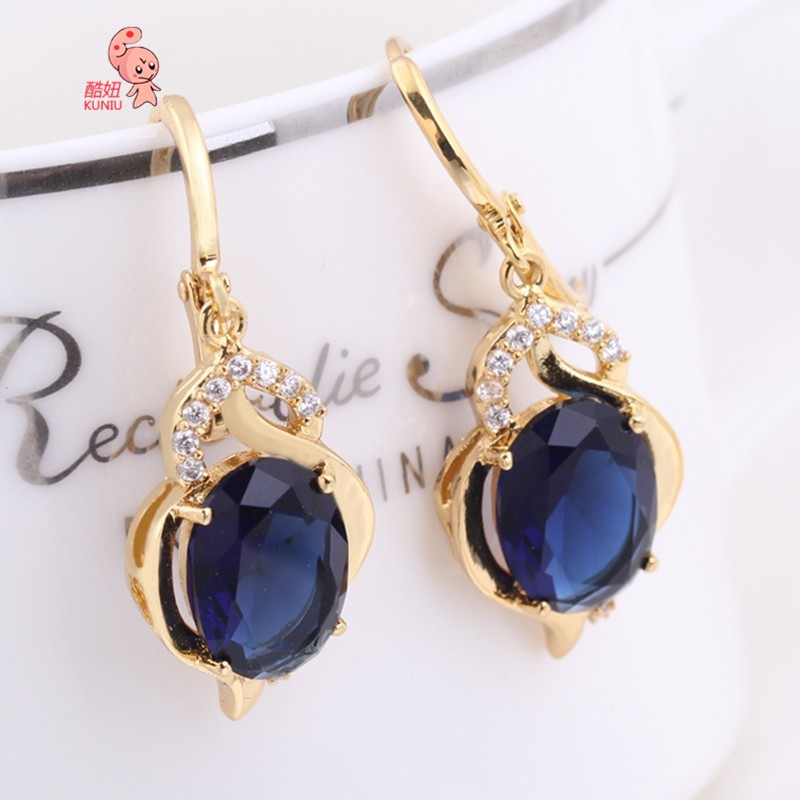 Kuniu Gold Plated Blue Cubic Zircon Crystal Dangle Drop Earrings