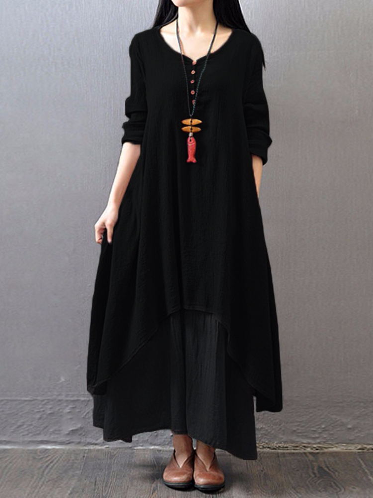 Vintage Women Double Layered Buttons Maxi Dress