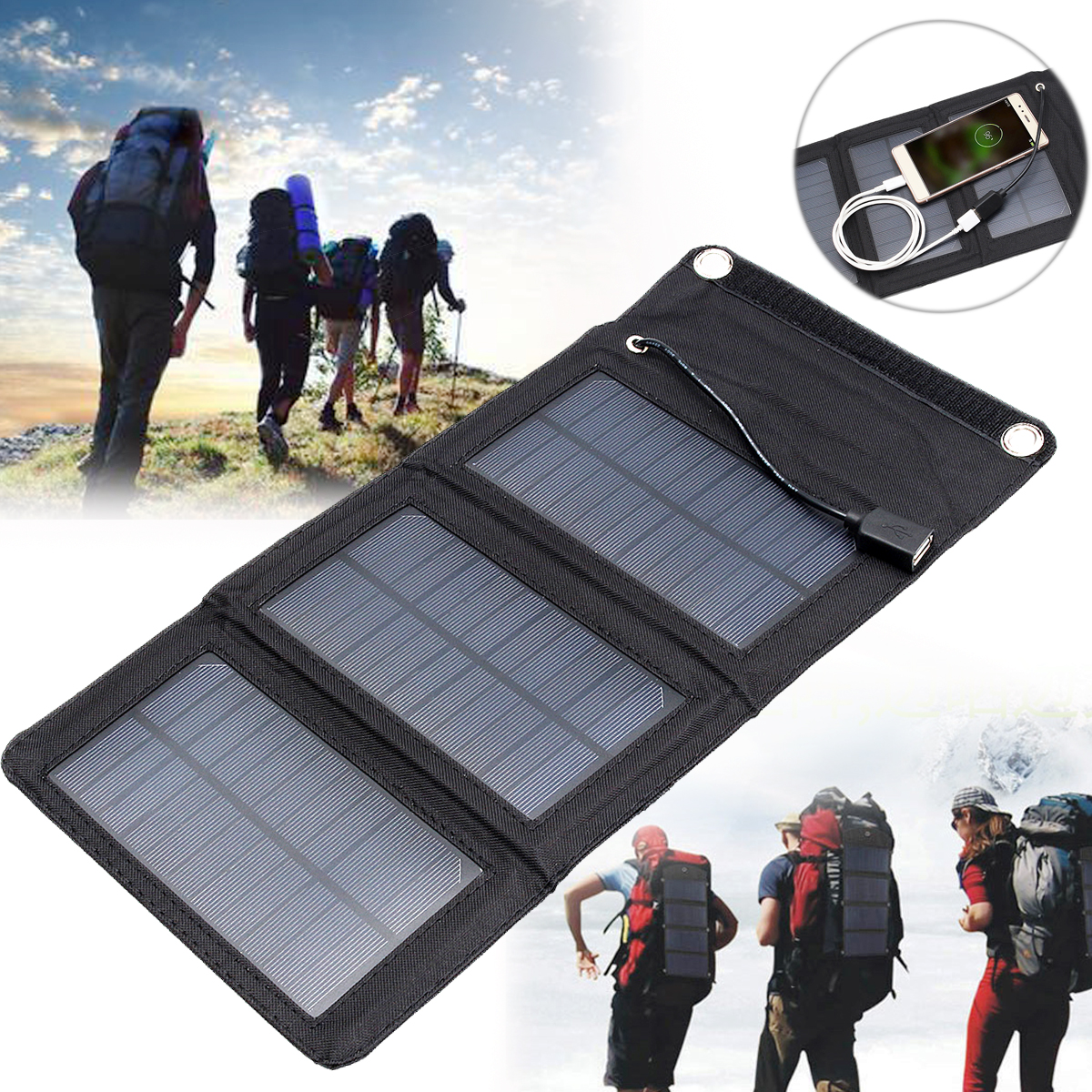 IPRee™ 5V 5W Portable Solar Panel Outdoor Travel Foldable Charger Power Bank With USB Port