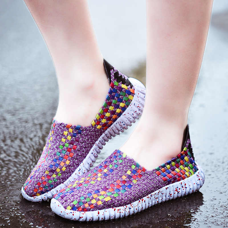 US Size 5-9 Women Shoes Hand Woven Breathable Net Hollows Beach Summer