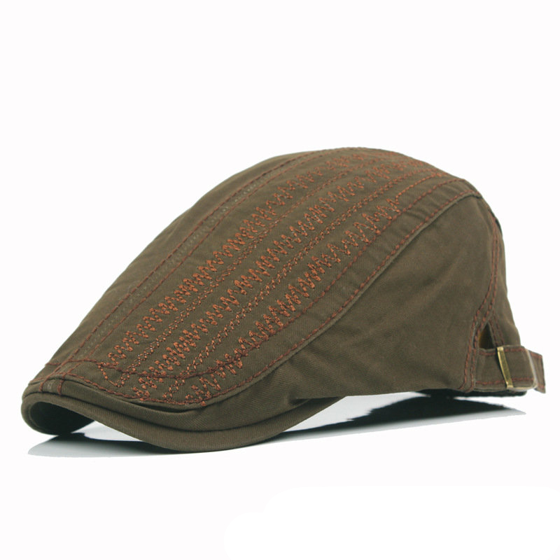 Men Women Cotton Beret Cap Solid Color Embroidery Casual Forward Peaked Hats