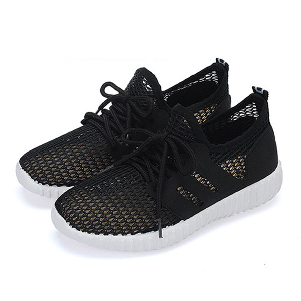 Mesh Women Breathable Lace Up Casual Flat Shoes