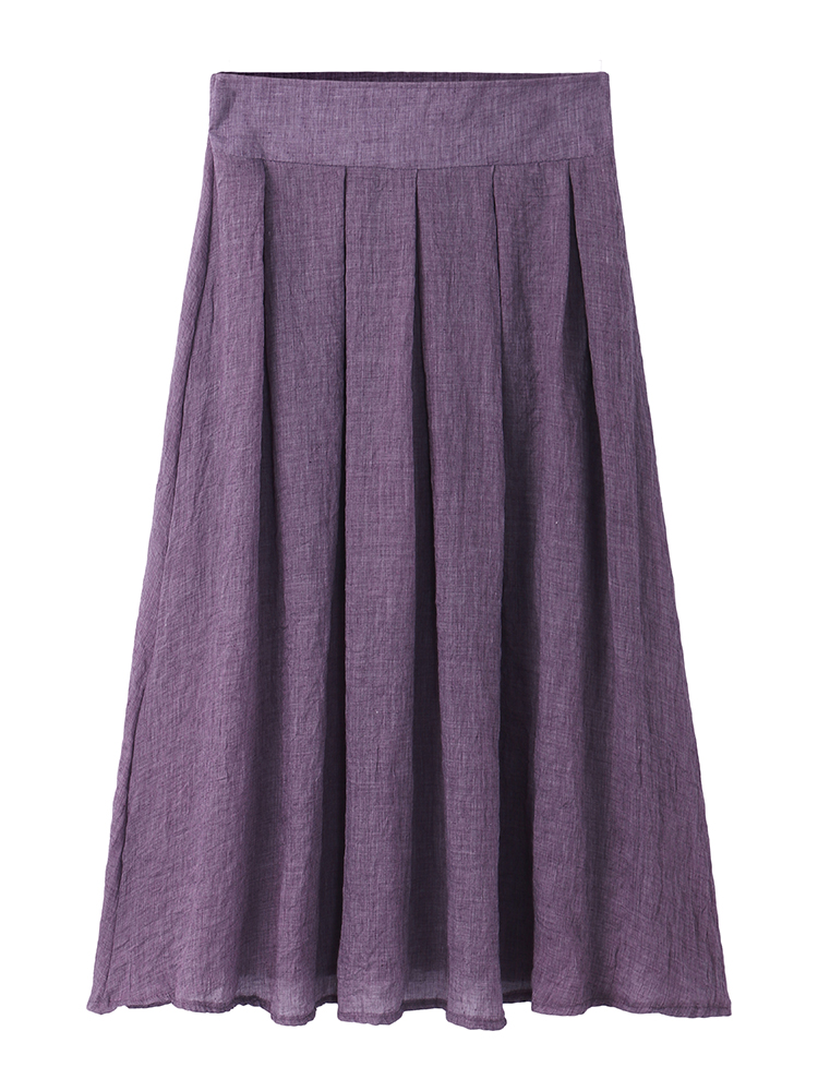 Casual Women Loose Pleated Pure Color Skirts