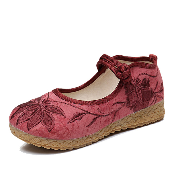 Women Embroidered Flower Soft Sole Casual Flat Loafers