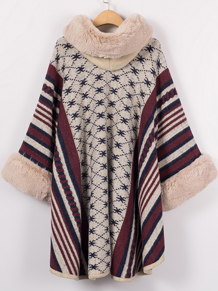 Elegant Stripe Printed Hooded Fur Collar Cloak Cape Coats